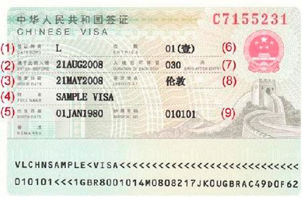 Estos son los datos a leer en el visado para viajar a China
